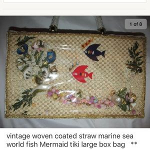 Handbags - Vint 60's woven straw fish shell mermaid box bag